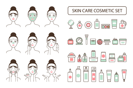 Skin Care Cosmetic Set on Promo Poster with Woman Çizim