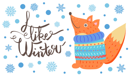 I Like Winter Postcard with Smiling Fox in Sweater