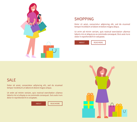 Two women with colorful shopping bags. Vector illustration suits for web page and contains females with their purchases, place for text and buttons