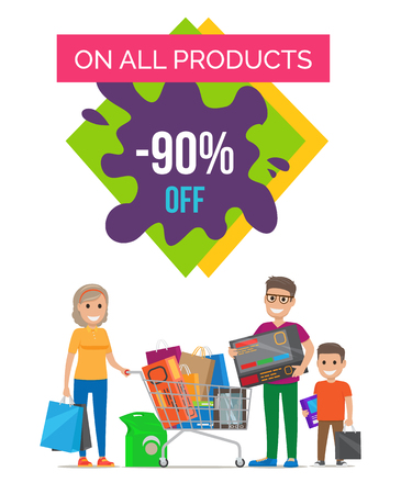 On all products -90 off, banner representing granny with package, father with interesting object, son with bag on vector illustration Illustration