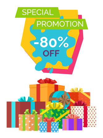 Special promotion -80 off, banner depicting lots of presents decorated with ribbons and bows with headline on vector illustration Illustration