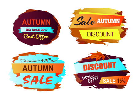 Autumn discount best offer colorful icons on white background. Vector illustration with sale clearance on set of four signs with yellowed leaves