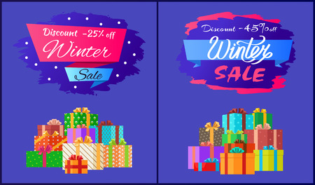 Discount -25 , -45 winter sale poster with advertisement label with snowballs, pile of presents in decorative wrapping paper isolated on blue vector Illustration