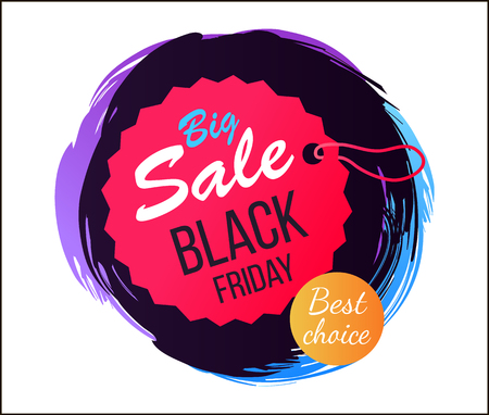 Big sale Black Friday best choice, tag with lace of circular shape and pink color, sticker with dark background vector illustration Stock Vector - 90938053