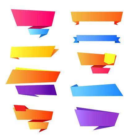 Collection d'éléments d'icônes qui sont des rubans vides et des rayures avec un espace pour l'écriture de votre propre texte sur illustration vectorielle isolée sur blanc Banque d'images - 90943861