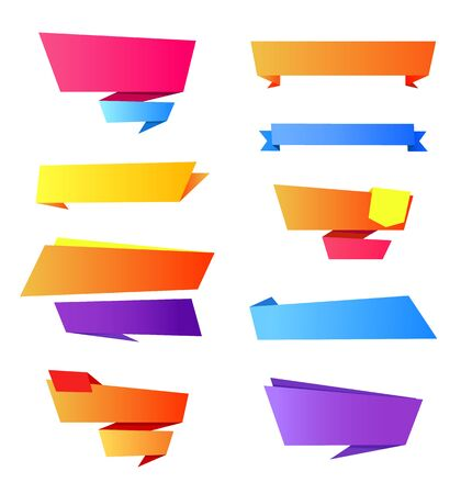 Collection of icon elements that are empty ribbons and stripes with space for writing your own text on vector illustration isolated on white Illustration