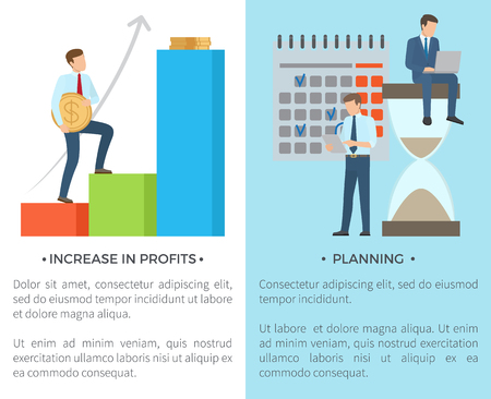 Increase in profits and planning, set of pics with text and title, man with big coin and people doing their work in laptops vector illustration Illustration