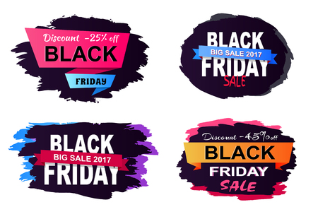 Discount -25 off, big sale 2017 Black Friday, collection of stickers dedicated to shopping day theme, on vector illustration isolated on white