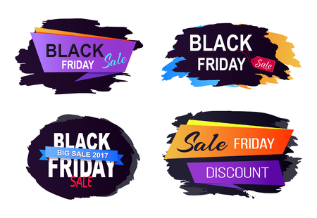 Black Friday big sale 2017, set of stickers and labels with different title decoration and ribbons on vector illustration isolated on white Illusztráció