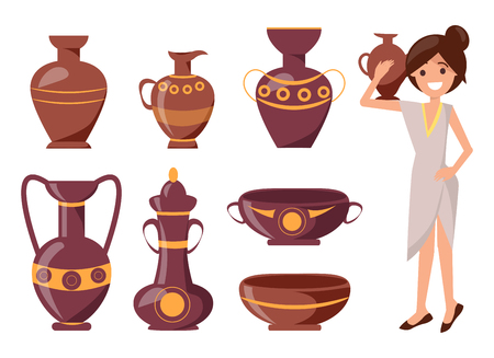 Woman posing with clay vase vector illustration isolated on white. Ornamental pot of different shapes on exhibition with decor Illustration