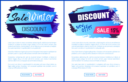Winter sale web page design with discount clearance and room for text and buttons. Vector illustration with special offer colorful advert banners set