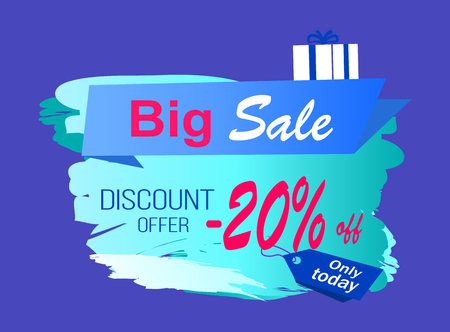 Big sale discount offer -20 off on icy sign decorated with gift box in wrapping paper. Vector illustration with special proposition on blue background