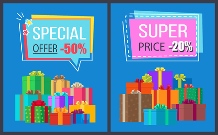 Special offer super price promo labels decorated with frames, promotional stickers on vector illustration posters with gift boxes on blue background Illustration