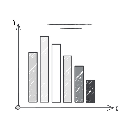 Black and white graphic representing coordinate system with columns which means visualized information on vector illustration isolated on white