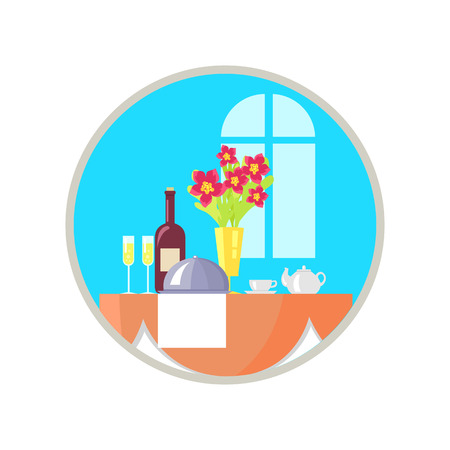 Served Restaurant Table Icon Vector Illustration Stock Vector - 90994125