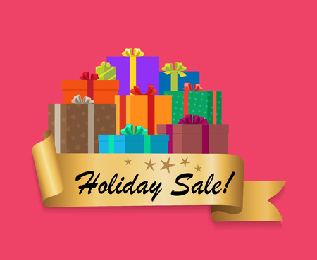 Holiday Sale Gold Ribbon Gift Boxes Poster