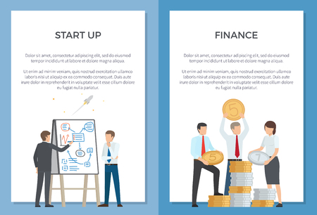 Start Up and Finance Collection of Cartoon Banners