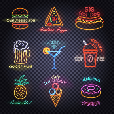 Royal Cheeseburger Neon Labels Vector Illustration Illustration