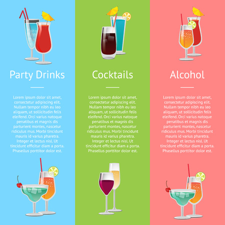 Cocktails, Party Drinks and Alcohol Poster Ilustrace