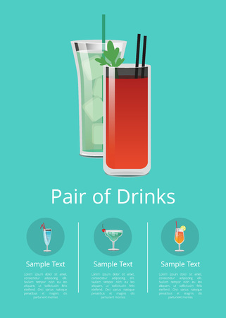 Pair of Drinks Promo Poster Cocktails Icon Text