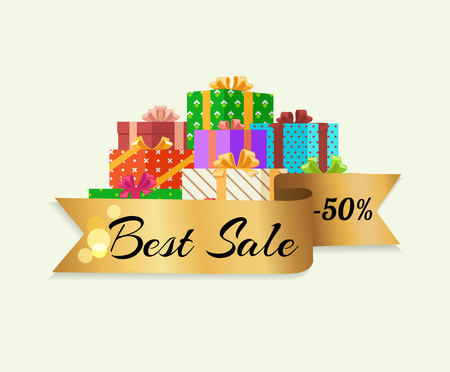 Best Sale 50 Off Poster with Gold Ribbon Gift Box