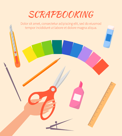 Scrapbooking Vector Poster with Stationary Items