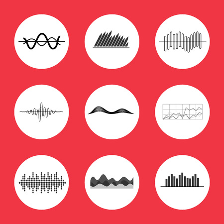 Charts, Graphs and Equalizer Interface Icons Illustration