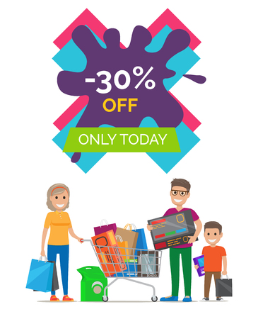 -30 Off Only Today Placard Vector Illustration