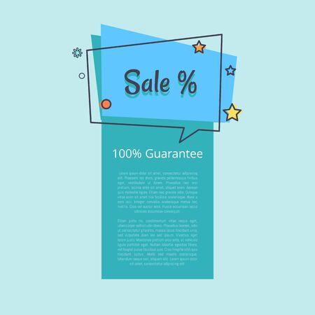 100 Bannière de vente garantie dans une bulle carrée