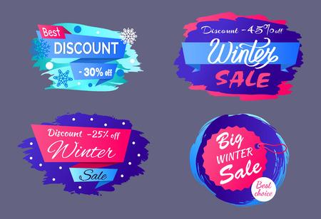 Best Big Winter Discount Vector Illustration Set
