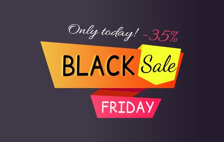 Only Today - 35 off Black Sale Friday Promo Label Ilustração