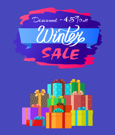 Discount 45 off Winter Sale Poster with Advert Box