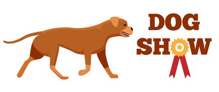 Dog Show Award with Ribbon Canine Animal Design Illustration