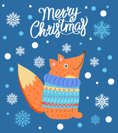 Merry Christmas Snowflakes Vector Illustration Illustration