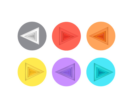 Pointers Directed to left Icons in Colorful Circle