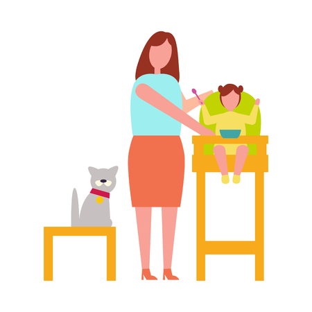 Icon of Mother with Child Vector Illustration Illustration