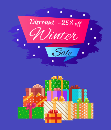 Discount 25 Winter Sale Poster with Advert Present