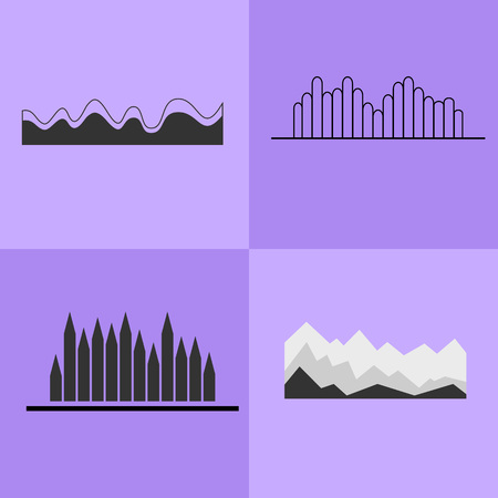 Line Chart and Wavy Graph Vector Illustration