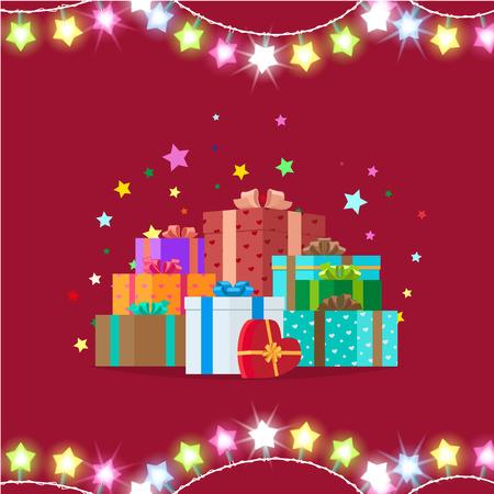 花輪やベクトル図に Giftboxes  イラスト・ベクター素材