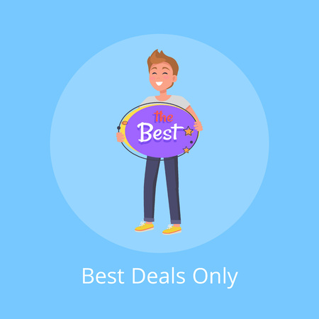 Best Deals Only Poster with Man Hold Board Vector
