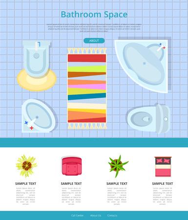 Bathroom Space Interior Design Vector Illustration Stock Vector - 90994788