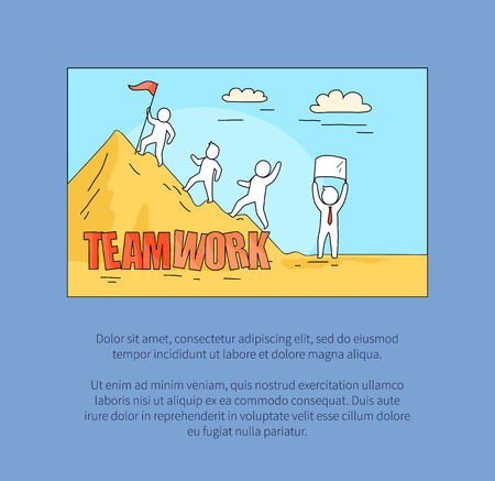 Teamwork image representing group climbing a mountain with ribbon, text sample below for expressing own thoughts on vector illustration Stok Fotoğraf - 91025953
