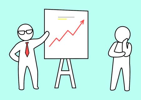 Slimme leider draagt een bril en stropdas presenteert zijn afbeelding van de groei aan zijn werknemer, die aandachtig luistert naar zijn baas vectorillustratie Stock Illustratie