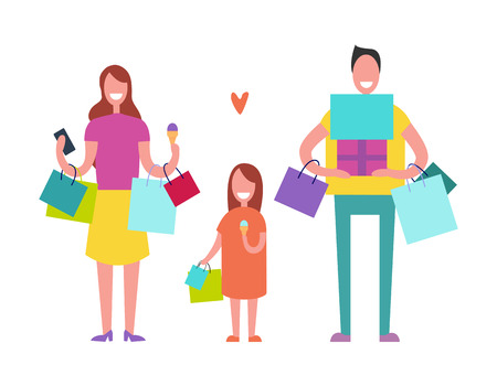 Smiling family consisting of father, mother and daughter in process of shopping in mall, holding bags and gifts vector illustration