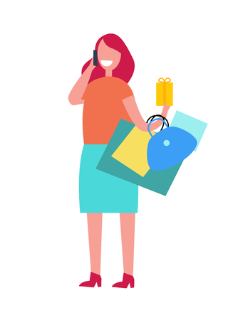 Woman talking on phone and standing with bags in her left hand. Illustration