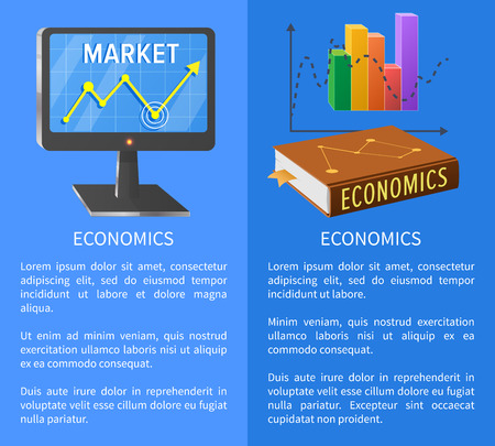 Economics market poster with screen showing rising arrow, book on marketing and chart graphics vector illustrations with text