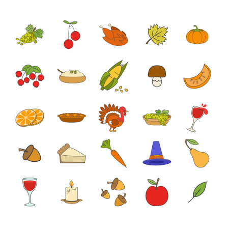 Ripe fruits, vegetables and berries, forest mushroom and acorns, alive and roast turkey, pumpkin porridge, apple pie, cone hat, glass of wine, burning candle and tree leaves vector illustrations.