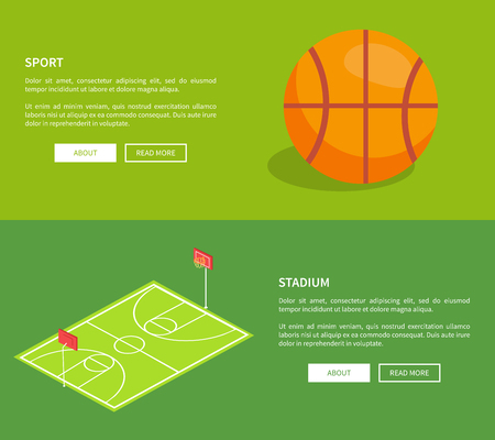 Sport stadium web posters with basketball school playground 3D vector illustration with ball and field, text on green. Sportsground with baskets and grass Illustration
