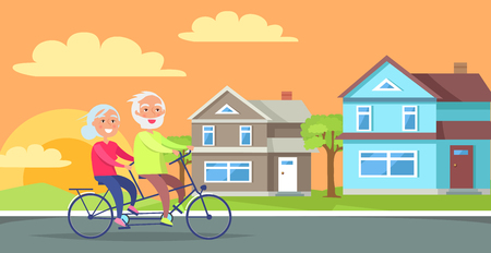 Happy mature couple riding together on bike on background of rural cottages vector illustration. Husband and wife on retirement in countryside Illustration
