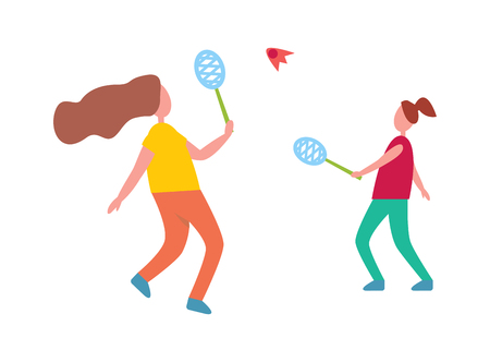 Mother and daughter playing badminton isolated vector illustration on white. Middle-aged female parent and her teenage child spending time outside